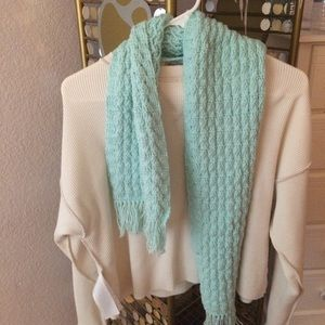 Baby blue teal knit scarf